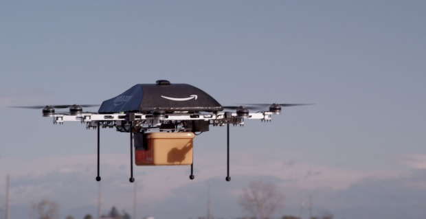 The first Amazon Prime Air delivery by drone in Britain before Christmas. Amazon