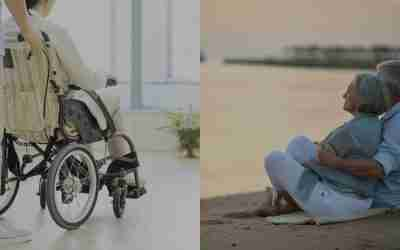 Aged care resident in wheelchair beside elderly couple looking out towards beach