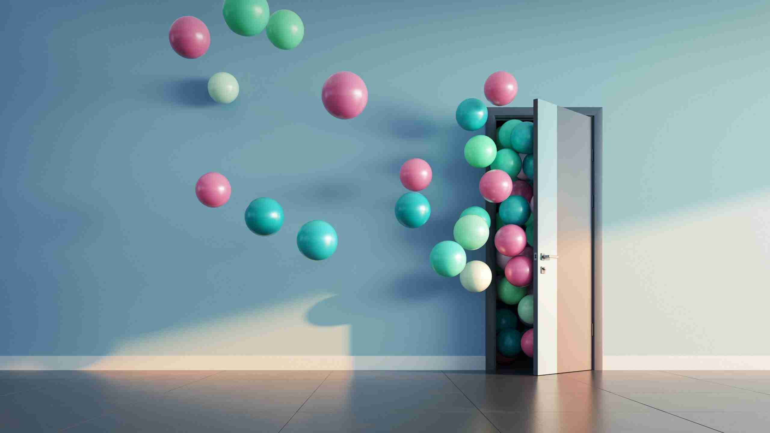 An open door with balls flowing through signifying the opportunities flowing through customer centricity and customer experience strategy.