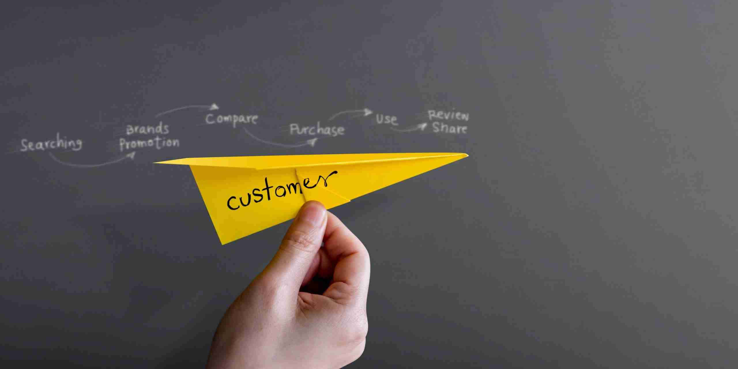 A picture of a paper aeroplane with 'customer'  on it flying through the air, past a customer experience strategy plan or customer journey map.